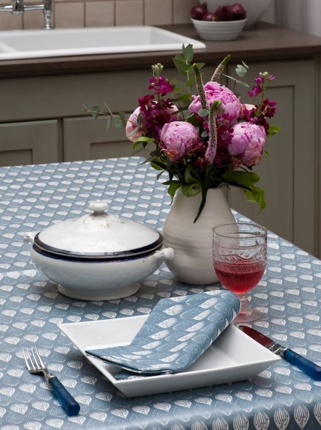 Isabella Blue Organic Table Linen