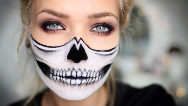 half skeleton make up