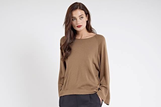 woman in brown top