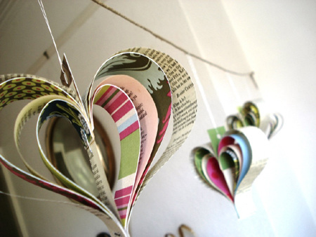 recycled paper heart decorations