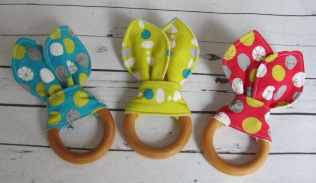 wooden bunny teething rings