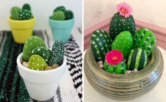 painted cactus rock garden