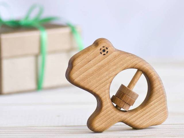 organic wooden frog rattle