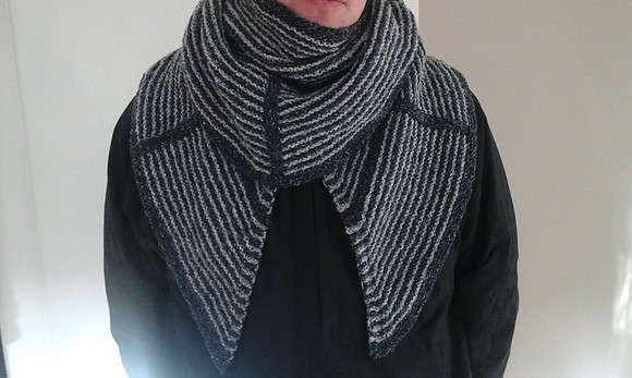 Steven Wests Clockwork Shawl in recycled cotton yarn