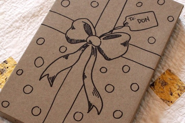 Brown Paper Gift Wrap with Drawing