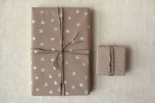 brown paper wrapping with white pencil