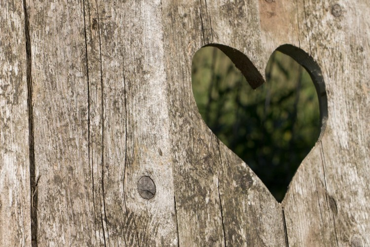 heart cut out of old timber