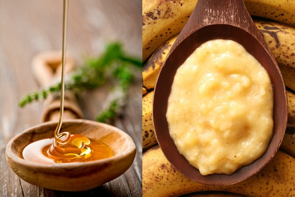 honey dripping into a bowl and mashed banana on a spoon