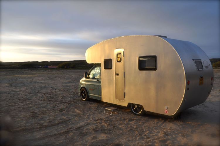 Metal Camper Van on Beach