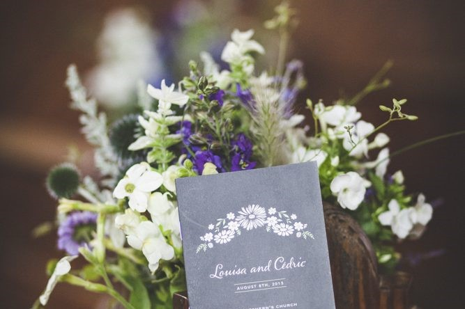 wedding flowers with card