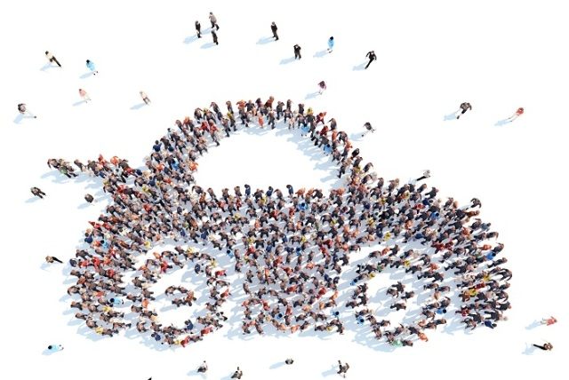 Arial view of People in the Shape of a Car