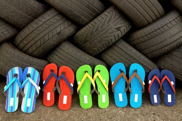 Flip Flops from recycled tyres