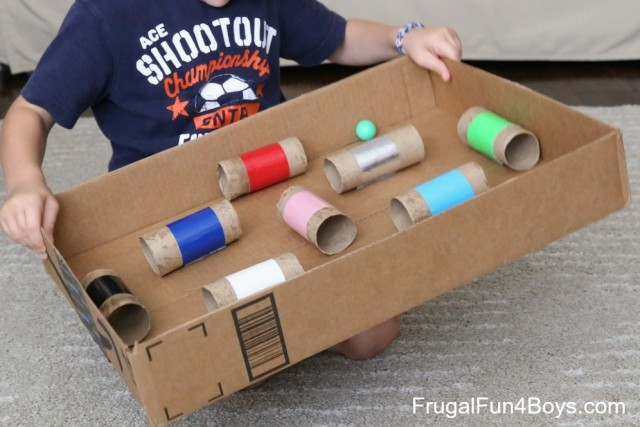 box with toilet roll inserts glued to it