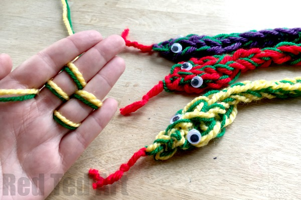 finger knitted snakes