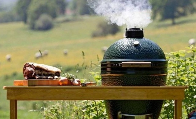 Big Green Egg shaped barbecue in a field