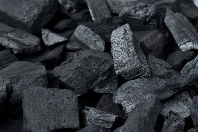 Pieces of lump charcoal