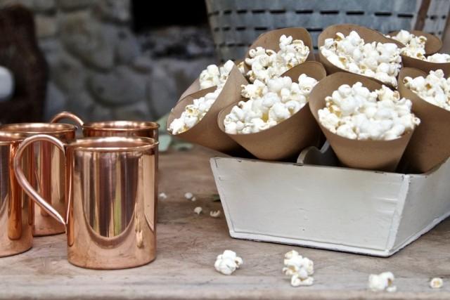 Popcorn in brown paper cones