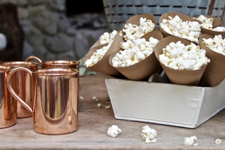 Popcorn in brown paper cones