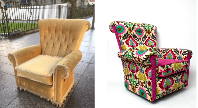 before and after armchair