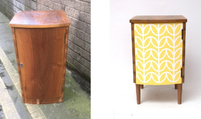 before and after of bedside cabinet