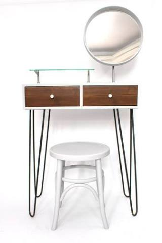 console table with mirror and seat