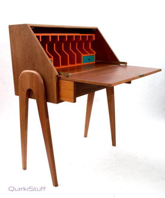 writing desk with orange inside