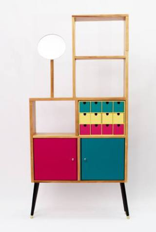 colourful shelving unit