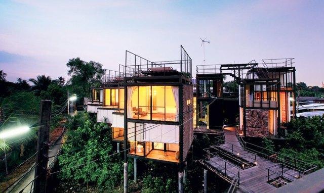 modern tree house in jungle setting