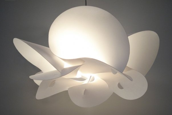 white modern light fitting