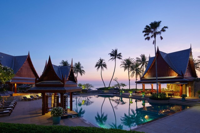 Thai resort at dusk