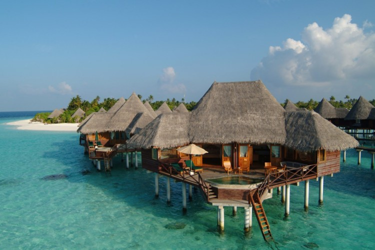 chalets over tropical sea