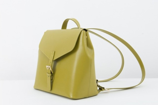 green recycled leather backpack