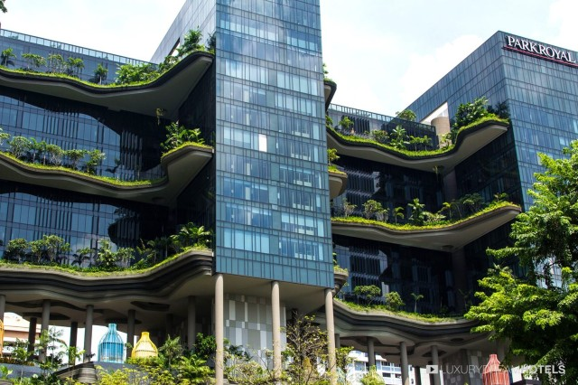 hotel with planted balconies