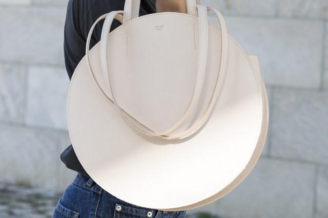 circular leather bag