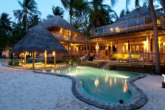 illuminated resort at dusk