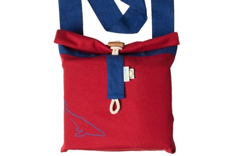 red messenger bag with blue strap