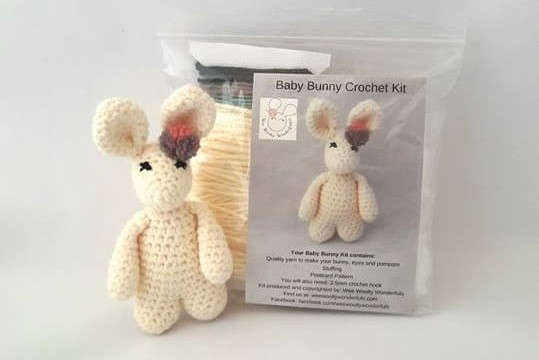 bunny beside craft kit