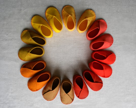 circle of baby shoes