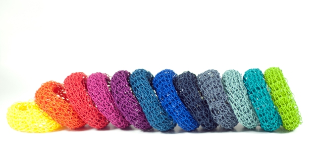 row of paper bracelets